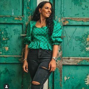 Zara green dotted blouse